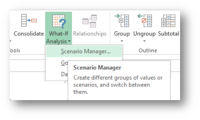 microsoft excel scenario manager and prescriptive analytics